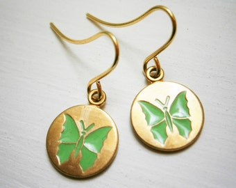 Green Butterfly Vintage Style Brass Disc Charm Pendant On Gilt Plated French Earring Hooks/Dangle Earring/Butterfly Earrings/Nature Earrings