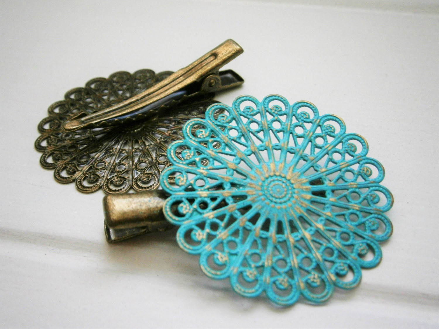 Filigree Bobby Pin Verdigris Patina Lace Hair Accessories Green Blue Antique Brass Rustic Country Chic Old World Vintage Style Hair Clip