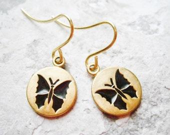 Vintage Style Black Butterfly Brass Disc Charm Pendant On Gilt Plated French Earring Hooks/Dangle Earrings
