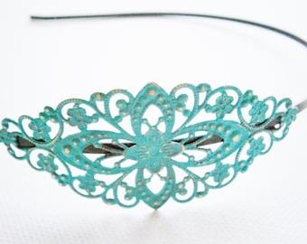 Verdigris Patina Filigree Headband - Hair Accessory, Bridesmaid Gift, Family Pictures, Stocking Stuffer