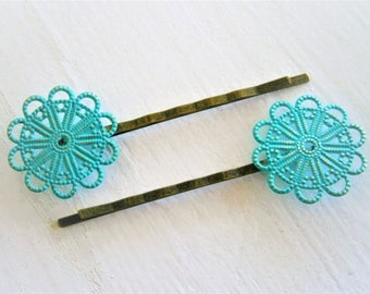 Turquoise Patina Large Filigree Daisy Antique Bronze Bobby Pins Set of 2/Hair Clip/Bohemian Hair Clips/Shabby Chic Hair Clips/Rustic Wedding