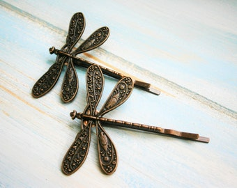 Red Copper Plated Set of 2 Dragonfly Bobby Pins, Dragonfly Hair Clips, Boho Hair Clips, Boho Hair Accessories, Wedding Hair Accessories
