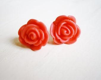 Dark Pink 13mm Resin Rose Flowers set on Stainless Steel Hypo Allergenic Earring Posts/Stud Earrings.
