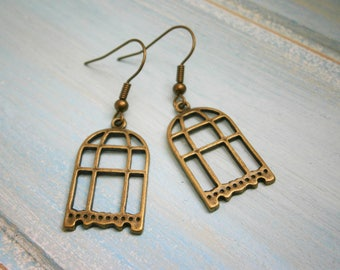 Antique Bronze Bird Cage Charm Dangle Earrings/Boho Earrings/Nature Earrings/Dangle Earrings/Bird Cage Earrings/Rustic Wedding/Steampunk