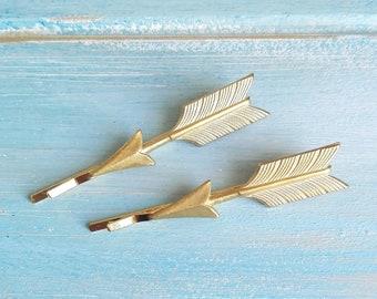 Arrow Hair Pin, Gold Set of Two Arrow Hair Pin, Arrow Bobby Pin, Arrow Hair Clip, Boho Hair Clip, Wedding Hair Accessories, Bridal Hair