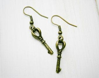 Antique Bronze Small Key Charm Dangle Earrings/Boho Earrings/Steampunk Earrings/Key Earrings
