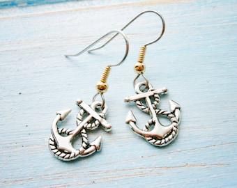 Antique Silver Mini Anchor Charm on Stainless Steel Earring Hooks/Dangle Earrings/Nautical Earrings/Sailing Earrings/Hypo Allergenic