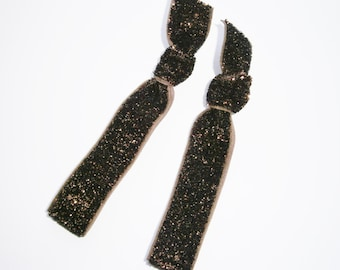 Set of 2 Glitter Hair Tie Package by Crimson Rose Cottage - Brown Glitter Hair Ties that Double as Bracelets