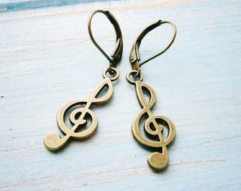 Antique Bronze Musical Note Pendant Dangle Earrings/Boho Earrings/ Victorian Style Earrings/ Shabby Chic Earrings/Symbol Earrings