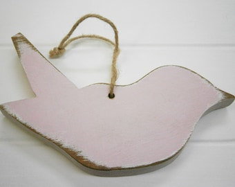 Shabby Pink Painted Distressed Wood Hanging Bird/Bluebird/Shabby Chic Decor/Rustic Home Decor