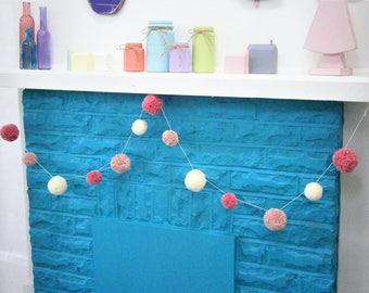 Multi Coloured Yarn Pom Pom Garland/Party Decor/Home Decor/Garland/Bohemian Home Decor/Farmhouse Decor