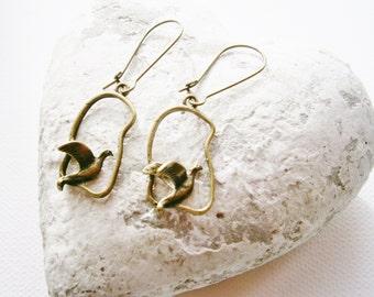 Antique Bronze Bird Charm On Antique Bronze Kidney Wire Earring Hooks/Dangle Earrings/Boho Earrings