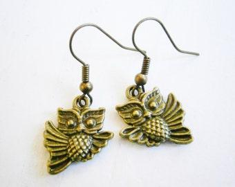 Antique Bronze Owl On Antique Bronze Earring Hooks/Dangle Earrings/Boho Jewelry/Woodland Jewelry/Nature Inspired