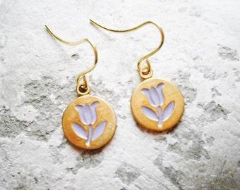 Vintage Style Purple Tulip Brass Disc Charm Pendant On Gilt Plated French Earring Hooks/Dangle Earrings