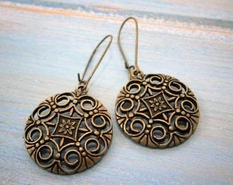Antique Bronze Filigree Flower Charm on Antique Bronze Kidney Wire Earring Hooks/Dangle Earrings/Boho Earrings/Filigree Earrings