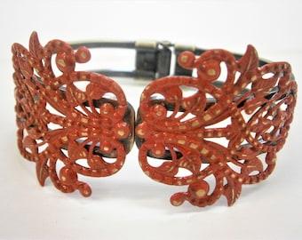 Red Patina Antique Bronze Filigree Cuff Bracelet/Boho Bracelet/Nature Inspired Bracelet/Bridesmaid Bracelet/Shabby Chic Jewelry