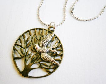 Antique Bronze Filigree Tree of Life Necklace with Antique Silver Swallow Bird Charm on Antique Silver Ball Chain/Woodland Necklace/Nature.