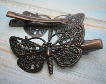 Black Hand Painted Patina Red Copper Butterfly Filigree Shabby Chic Alligator Hair Clip/Boho Hair Clip/Rustic Butterfly Hair Clip.