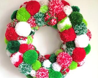 Large Christmas Multi Coloured Yarn Pom Pom Wreath/Party Decor/Christmas Wreath/Home Decor/Wreath/Bohemian Home Decor/Colourful Wreath