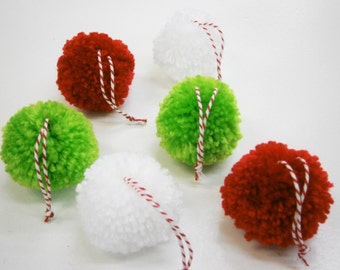 Multi Coloured Yarn Pom Pom Christmas Decorations/Christmas Tree Decorations/Present Decorations/Home Decor/Bohemian Home Decor/Rustic Decor
