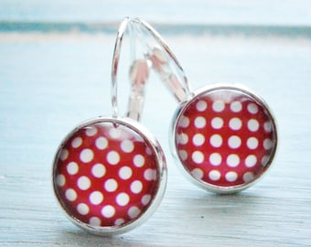 Hot Pink Polka Dot Pattern Earrings/Pink and White Patterned Earrings/Dangle Earrings/Pink Earrings/Glass Dome Earrings/Polka Dot Earrings