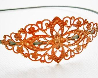 Garnet Patina Filigree Headband - Hair Accessory, Bridesmaid Gift, Family Pictures, Stocking Stuffer