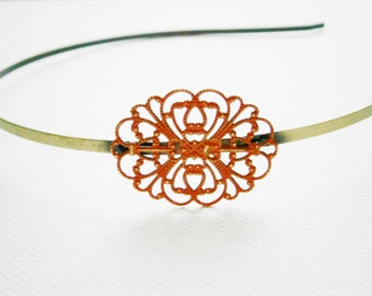 Garnet Red Patina Filigree Headband - Hair Accessory, Bridesmaid Gift, Family Pictures, Stocking Stuffer