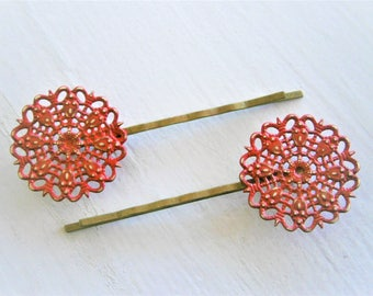 Red Filigree Patina Antique Bronze Bobby Pins Set of 2/Hair Clips/Bohemian Hair Clips/Shabby Chic Hair Clips/Bobby Pins/Rustic Wedding