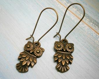 Antique Bronze Owl On Antique Bronze Kidney Wire Earring Hooks/Dangle Earrings/Boho Jewelry/Woodland Jewelry/Nature Inspired/Bird Earrings