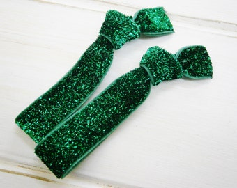 Set of 2 Glitter Hair Tie Package by Crimson Rose Cottage - Emerald Green Glitter Hair Ties that Double as Bracelets