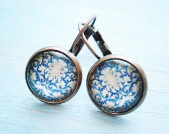 Vintage Floral Pattern Earrings/Blue Patterned Earrings/Dangle Earrings/Blue Earrings/Glass Dome Earrings/Floral Earrings/Bridesmaids Gifts