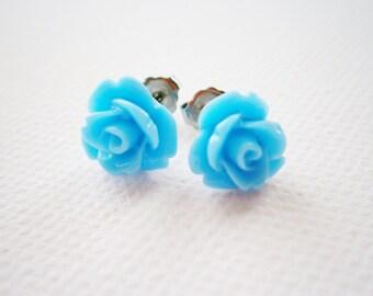 Light Blue 10MM Resin Rose Flowers set on Stainless Steel Hypo Allergenic Earring Posts/Stud Earrings/Blue Rose Earrings.