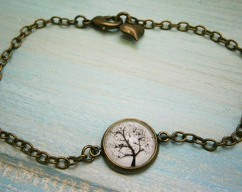 Black & White Tree - Antique Bronze Glass Dome Bracelet/Boho Bracelet/Tree Bracelet/Fashion Jewelry/Glass Dome Jewellery/Nature Jewelry