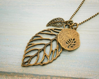 Antique Bronze Filigree Leaf Necklace with Small Filigree Leaf and Fossil Tree Charms/Boho Necklace.