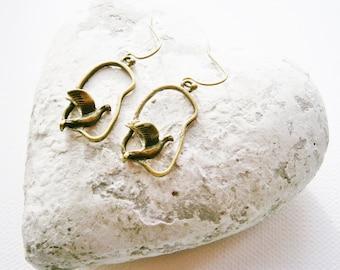 Antique Bronze Bird Charm On Antique Bronze French Earring Hooks/Dangle Earrings/Boho Earrings.