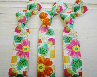 Tropical Floral - Set of 3 Floral Hair Ties by Crimson Rose Cottage/Boho Elastic Hair Tie/Boho Soft Bracelet