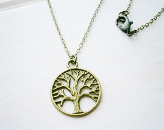 Antique Bronze Filigree Small Round Tree of Life Necklace Charm/Boho Necklace/Nature Necklace.