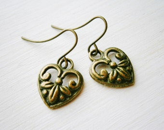 Small Antique Bronze Victorian Style Heart Charm On Antique Bronze French Earring Hooks/Dangle Earrings.