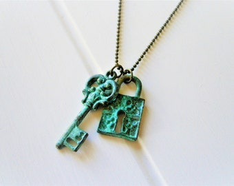Verdigris/Aqua Patina Key & Lock on Antique Bronze Ball Chain/Boho Necklace/Long Necklace/Layering Necklace/Patina Jewerly/Patina Necklace.