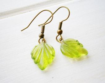 Green Glass Leaf Charm On Antique Bronze Earring Hooks/Dangle Earrings/Boho Jewelry/Woodland Jewellry/Nature Earrings/Leaf Earrings.