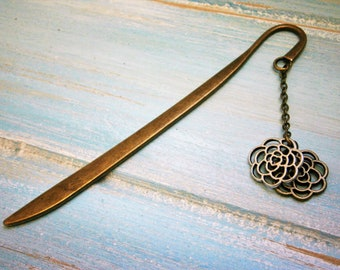 Bookmark with a Antique Bronze Filigree Flower and a Antique Silver Filigree Flower/Book Lover Bookmark/Flower Bookmark/Bookmarks for Books