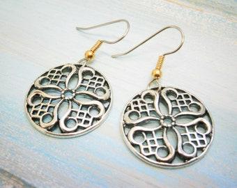 Antique Silver Filigree Charm Pendant on Stainless Steel Earring Hooks/Bohemian Jewelry/Filigree Earrings/Hypo Allergenic/Boho Earrings