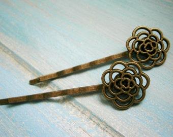 Antique Bronze Set of 2 Filigree Flower Bobby Pins, Flower Hair Clips, Boho Hair Clips, Rustic Wedding Hair, Wedding Hair Accessories