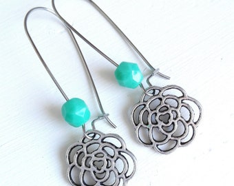 Turquoise Glass Faceted Bead with Antique Silver Filigree Flower On Stainless Steel Kidney Wire Earring Hooks/Dangle Earrings/Boho Jewelry