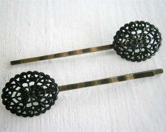Black Oval Filigree Patina Antique Bronze Bobby Pins Set of Two/Hair Clips/Bohemian Hair Clips/Shabby Chic Hair Clips/Bobby Pins