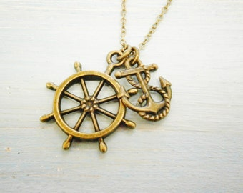 Antique Bronze Small Ship Wheel Charm & Mini Anchor Charm/Boho Necklace/Nautical Necklace