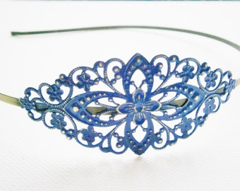 Lapis Blue Patina Filigree Headband - Hair Accessory, Bridesmaid Gift, Family Pictures, Stocking Stuffer