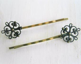 Black Filigree Patina Antique Bronze Bobby Pins Set of Two/Hair Clips/Bohemian Hair Clips/Shabby Chic Hair Clips/Bobby Pins