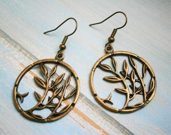 Antique Bronze Tree Charm Dangle Earrings/Boho Earrings/Nature Earrings/Tree Earrings/Dangle Earrings/Nature Jewelry/Bohemian Earrings