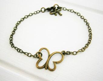 Antique Bronze Filigree Butterfly Charm Bracelet/Boho Bracelet/Nature Inspired Bracelet/Woodland Jewelry/Wedding Jewelry/Butterfly Jewellery